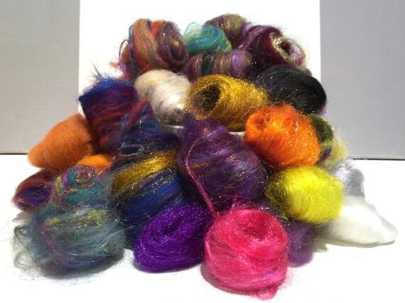 Needle Felting wool kit, roving, fiber Surprise Pack, remnant wool, grab bag wool, embellishment, mini batt, mini roving
