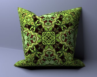 Dark mint bohemian pillow with a touch of black - bohemian pillow, boho pillow, throw pillow, green cushion, green pillow, green pillow case