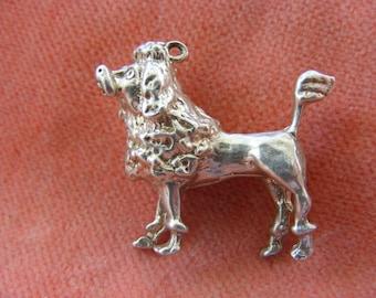 G) Vintage Sterling Silver Charm French Poodle Dog