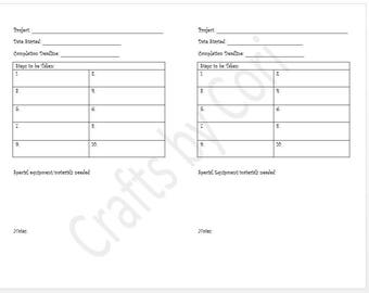 "Project Planning v.2 Half-Sheet 8.5""x5.5"""