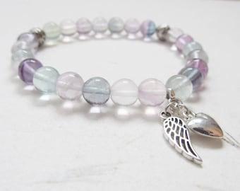 Fluorite bracelet, angel bracelet, love bracelet