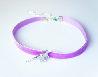 Dinosaur Choker, Lilac Velvet Choker, Adjustable Choker, Plesiosaur Choker, Dino Choker Necklace, Gifts for Teens, Gift Under 10