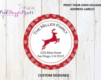 Customized Holiday Address Labels- Return Address Label- Family Address- Digital File ONLY- Holiday Cards- Printable- Reindeer & Snowflakes