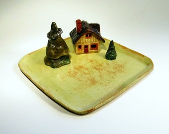 Ring Dish Miniature Cottage in the Glen  Little House With Trees Deluxe Collectible Sculpture