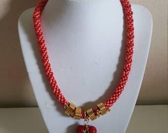 necklace handmade unique kumihimo pendant with alambrismo tecnique
