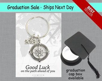Graduation Gift, Class of 2018, High School Graduation Keychain, Good Luck Graduate, Compass Keychain, College Graduation