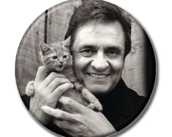 Johnny Cash holding a cat 1.75 inch pinback button