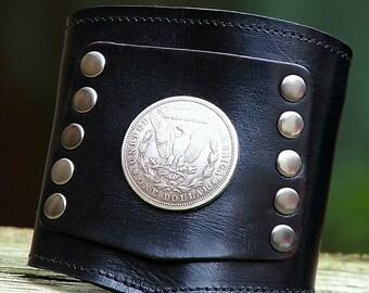 Prospect -- The Biker's Wrist Wallet Cuff with Secret Pocket  - -  Silver Morgan Dollar on Black Wristband