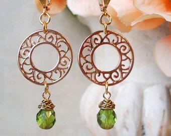 Green Crystal Dangle Earrings.Beadwork.Metal Earrings.Gold.Hoop Earrings.Bridal.Long Earrings.Holiday.Formal.Bridesmaid.Gift.Handmade.