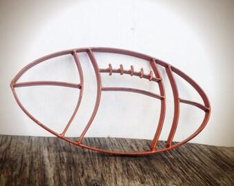 BOLD football metal wall art // rustic cinnamon brown // boys for him man cave