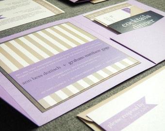 "Lilac Wedding Invitations, Modern Striped Invitations, Destination Wedding Invite, Lavender and Grey Card - ""Preppy Chic"" PF-1L-v2 SAMPLE"