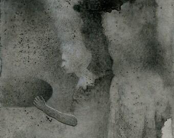 Original mixed media drawing - Untitled 140824