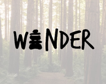 Wander hiking cairn vinyl decal sticker