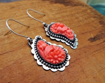 Paisley--Oxidized Sterling Silver Earrings with Vintage Coral Glass Cabochons--Handcrafted