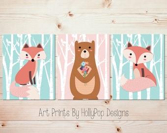Girl fox nursery Fox bear wall art Pink aqua nursery decor Woodland nursery art Girl woodland decor Baby girl wall art Modern girl art #1723