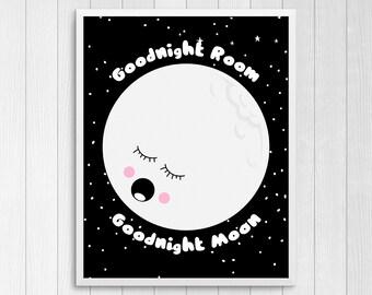 Printable Art, Goodnight Moon, Nursery Wall Decor, Kids Print Art, Nursery Room Decor, Baby Gift, Black And White Nursery, Art For Kids