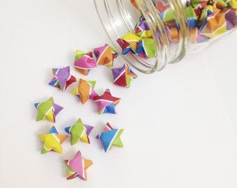 48 Rainbow Origami Stars: Stripes - Mini Star Decorations - Folded Paper - Lucky Stars - Gay Pride - Red Orange Yellow Pink Blue Purple