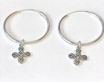 Sterling Silver Hoops with Removable Knot Charm Earrings