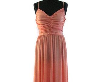 70s trina lewis marjon couture polyester summer dress vintage long peach dress lightweight summer dress vintage 70s designer strappy dress.