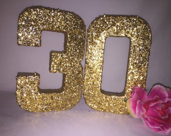 Glitter Numbers-Glitter Number 3-Glitter Number 0-Birthday Party Decor-30th Birthday Decoration-Birthday Photo Props-8 inch Glitter Numbers