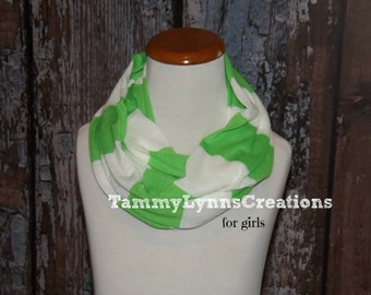 Girls Lime Green and White Stripe Infinity Scarf Cotton Slub Jersey Scarf Girl's Accessories
