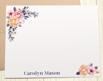 Personalized Stationary, Custom Stationery Set, Thank You Cards, Floral Notecards, A2 Note Cards With Envelope, 12 Flat Note Cards, PS003