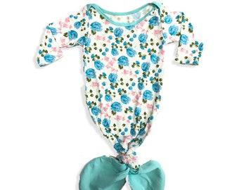 Baby Mermaid Gown Flowers Stamped