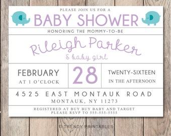 Baby Shower Invitation, Elephant Baby Shower Invitation, Girl Baby Shower Invitation, Printable Baby Shower Invite, Trendy Printables