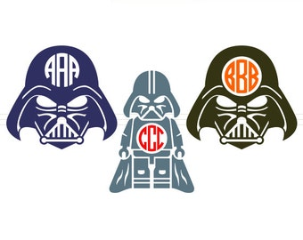 Darth Vader SVG Monogram Frames instant download cut file - svg, studio3, dxf, eps - Star Wars Cutting Files for Cricut, Silhouette