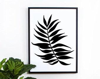 Tropical Leaf, Wall Decor, geometric art, wall art prints, black and white, wall decor, graphic, inspirational, decorative, nature