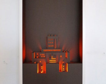 3D Papercut Art: Castle // Pop Up Art // Handmade Wall Art // Paper Cut