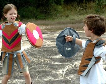 Viking Breastplate - PINK and BROWN -  Kid Costume, Adventure Gear, Felt Breastplate