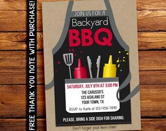Backyard BBQ Invitation - Backyard Party Invitation -