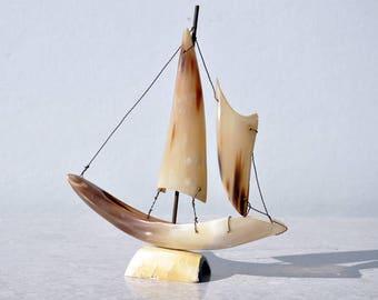 Cow Horn Sail Boat, Nautical Decor, Sail Boat Art, Steer Horn, Boat Sculpture