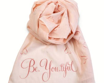 Metallic Heart Print Slogan 100% Cotton Soft Pink Scarf