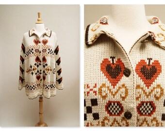 Vintage 70s Cape ⎮ 1970s Poncho ⎮ Vintage Beige Orange Shawl