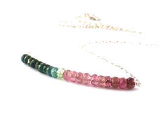 Watermelon Tourmaline Necklace. Faceted Watermelon Tourmaline Sterling Silver Chain Necklace.