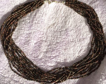 SILPADA Bronze Beaded Choker Necklace Multistrand Seed Bead Bronze Necklace New Old Stock