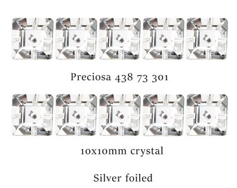 Sew on crystal square with 1 hole.  10x10mm.  Price is for 10 pieces