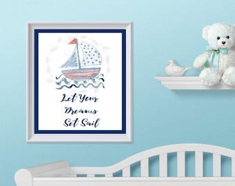 Sail Boat Nursery Decor - Wall Art - 8 x 10 - Nautical Nursery - Sail Boat - Nursery Decor - Nautical Decor - Sail Boat Decor