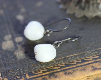 White Agate Earrings Antiqued Sterling Silver White Stone Nugget Earrings Rustic Jewelry