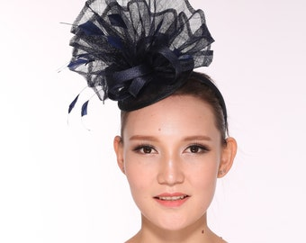 Kentucky Derby Feather Floral Sinamay Headband Fascinator Hat Navy Blue