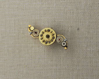 Vintage Brass Winged Recycled Watch Piece Brooch