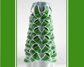 Green Candle - Unique Gift - Carved Candle - Christmas Candle
