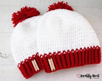 Red & White Crochet Beanie - Hat - Crochet Hat- Crochet Beanie - Kids Beanie - Baby Beanie - Adult Beanie - Slightly Slouchy beanie