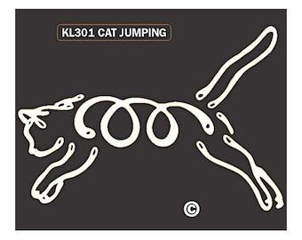 Jumping Cat K Lines Dog Car Window Decal Sticker