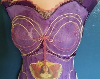 Ooak Upcycled Decorated Mannequin - Pretty in Purple