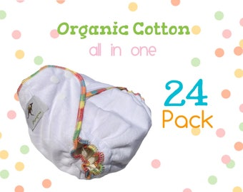 24 pack AiO Organic Cotton Cloth Diapers One Size Special Sale