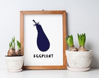 Printable Kitchen Art - Eggplant Print - Eggplant Poster - 8.5 x 11 PDF Print - Instant Download - Eggplant Cut-Out - Modern Eggplant PDF