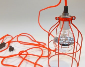 RED Industrial Hanging Cage Lamp Light with Antique Style Edison Bulb